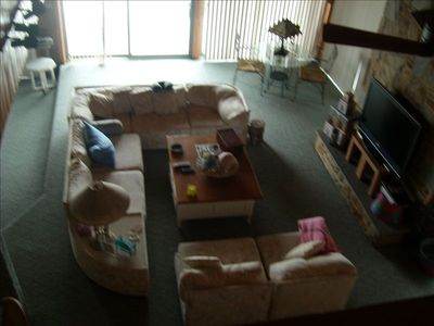 Living room from upstairs balcony