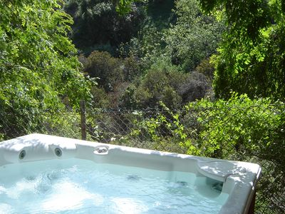 Enjoy views of the canyon from the hot tub