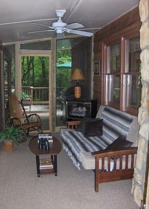 Sleeping porch - futon, gas fireplace on creek. Great AM coffee spot ...