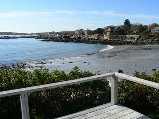 Biddeford house photo - Quiet beach in the cove--view from the deck at low tide--lots of sand.