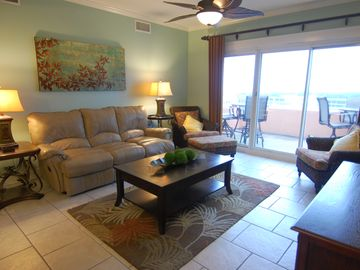 Fort Morgan condo rental - Den: Leather Reclining Sofa, Balcony with view of 18th Fairway, Gulf, and Bay.