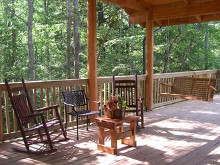 Jamestown cabin photo - Covered porch w/rockers, swing & outdoor fireplace