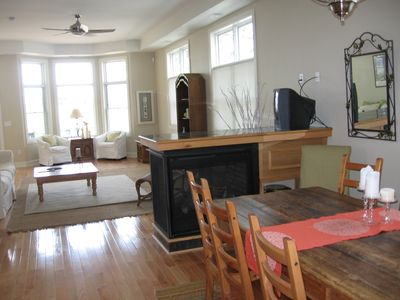 Dining Area to Living Room, Central Gas Fireplace