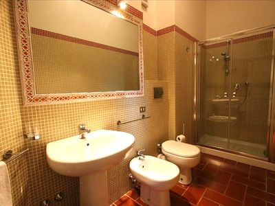 One of the five bathrooms