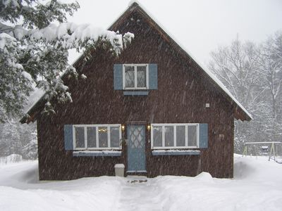 Our home in its winter coat