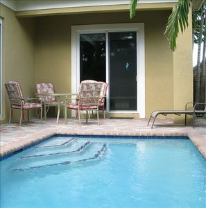 Privately fenced pool area
