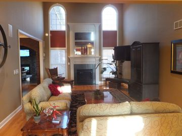 "Great room with 50"" flatscreen, fireplace"