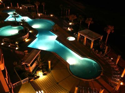 Pool view from our balcony at night