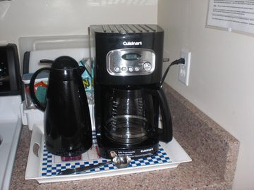 Your coffee! Updated kitchen. Electric tea kettle, grill & crockpot included.