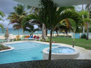 Arecibo villa photo - View from our new bar gazebo and #2 jacuzzi facing our beautiful sandy beach