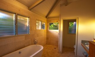 Puako house photo - Spacious Master Bath-Windows, when open, show off Mauna Kea and Mauna Lani Mtns.