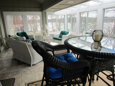 Screened Porch with Wicker furniture - What a view!  Best location in the house.