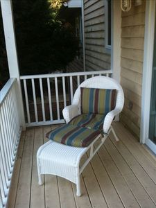a quiet, cozy corner on the deck, perfect for relaxing with a good book