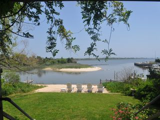 East Quogue house photo - View from the back porch onto the back garden, dock, bay, and Treasure Island