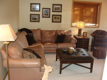 Another view of the family room in the basement.