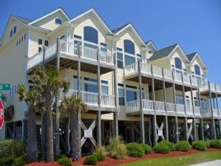 Surf City townhome photo - Outside View (Unit is 2nd from Left) the Windows in picture face ocean