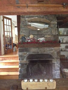 fireplace room and original homestead  my fish could not resist