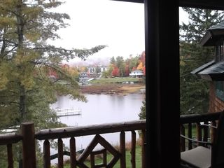 Lake Placid property rental photo - View from deck on a foggy autumn morning