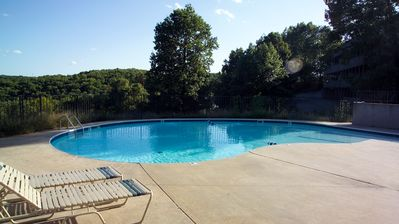 Branson cabin rental - Zero entry swimming pool is great for the little ones.