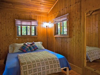Cozy Bedroom of #5 Cabin with Queen-size Organic Latex  mattress