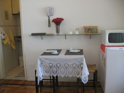 "Ipanema studio rental - ""Living Room"" with dining table, microwave and fridge"