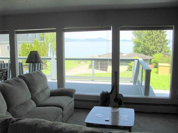 The sectional offers great lake views and a cozy place for family and friends.