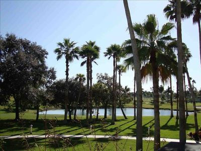 View of golf course, pond and palm trees from your balcony.