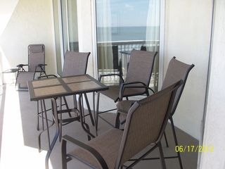 Cherry Grove Beach condo photo - Balcony seating and lounge chair