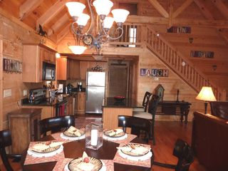 Hot Springs cabin photo - Great Room with kitchen and dining area.