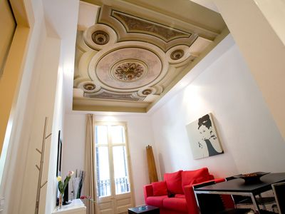 Living room with is antique ceiling