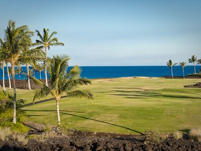 Beautiful ocean, golf and mountain view from the lanai of villa 8A.