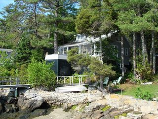Boothbay Harbor cottage photo - Our cottage with steps to the sandy entry area in the foreground.