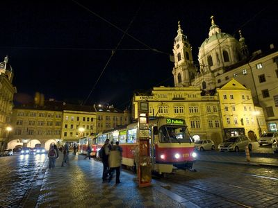 Tram at the Malostranske square, with Castle above