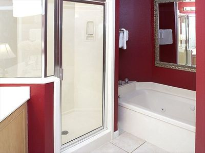 Master bath with spacious shower and jetted tub.