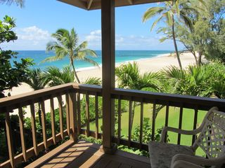 Ehukai Beach house photo - view of the beach from upstairs