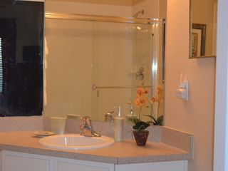Windsor Hills condo photo - Private master bath with shower. Fluffy luxury bath linens and hairdryer.