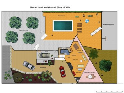 Layout of garden and ground floor of villa