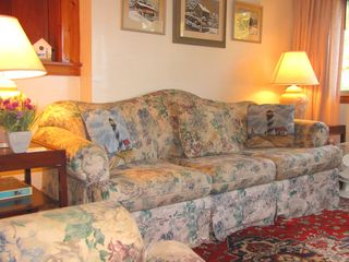 Mashpee house photo - Sunny living room with two couches and chairs. Couch is a sofa sleeper