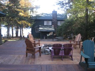 Lake Placid house photo - back yard and fire pit