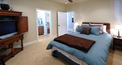 Queen Bed Companion Suite with Private Bath, entertainment Center.