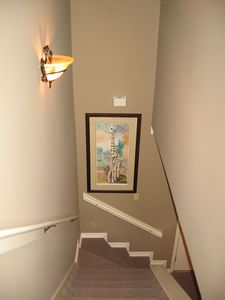 Stairwell Leads to Upstairs with Yvonne Vance Giraffe Print