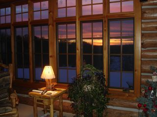 Bellaire / Shanty Creek cabin photo - Sunset looking threw the living room window