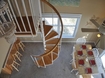 Breakfast area from loft with spiral stair