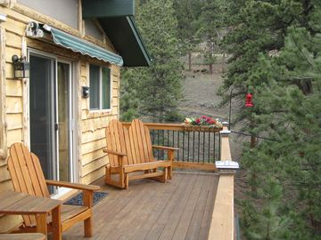 Upper Deck off of Living Area w/Mountain Views-Wood Glider and Tete-A-Tete