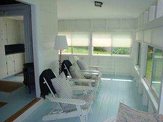 Gloucester - Annisquam cottage photo - Porch Seating (chairs have pullout ottomans)