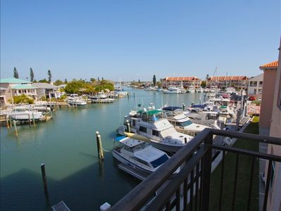 View of Boca Ciega Bay and marina from the balcony