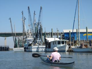 Tybee Island condo photo - Kayaking in the Lazaretto Creek--when you cross the bridge you have arrived!