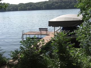 Lake Wisconsin house photo - Private pier and lakefront fire pit. Boatlift not for rent, pier not for docking