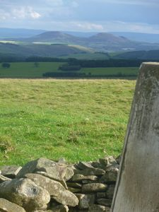 view from Farm Trig point to the Eildons