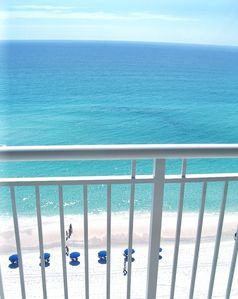 View of the aqua Gulf waters and our beach.